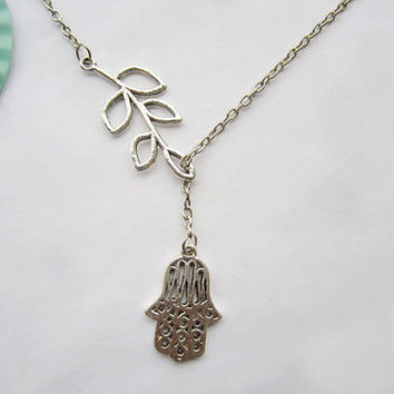 HAMSA necklace---antique silver branch and HAMSA hand,alloy necklace