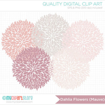 Dahlia Flowers (Pink / Mauve) Clip Art / Digital Clipart - Instant Download