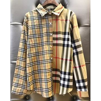 Burberry Fashion Women Casual Classic Plaid Long Sleeve Lapel Shirt Top