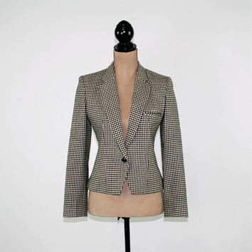 80s Wool Blazer Jacket Women Small Cropped Houndstooth Black White Check Jacket 1980s JH Collectibles Vintage Clothing Womens Clothing