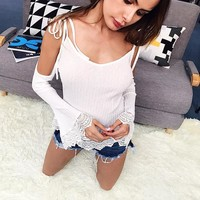T-shirts Butterfly Spaghetti Strap Strapless Patchwork Ruffle Long Sleeve Loudspeaker [11863305359]