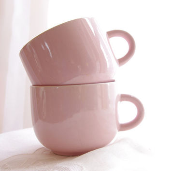 Vintage Mugs Pink Peach Stoneware Tea Cups by VintageHouseDecor
