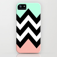 DOUBLE COLORBLOCK CHEVRON {MINT/CORAL/BLACK} iPhone Case by nataliesales   Society6