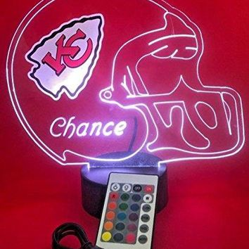 KC Chiefs NFL Light Up Lamp LED Personalized Free Kansas City Football Light Up Light Lamp LED Table Lamp, Our Newest Feature - It's WOW, With Remote 16 Color Options, Dimmer, Free Engraved Great Gift