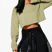 Betsy Crop Oversized Sweat | Boohoo