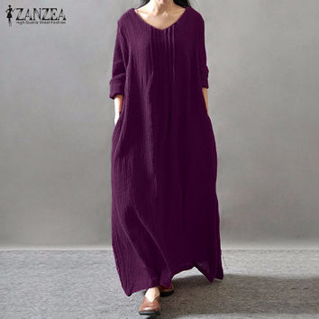 Women Elegant Dress 2017 Autumn ZANZEA V Neck Long Sleeve Floor-length Casual Loose Solid Retro Maxi Long Vestidos Plus Size