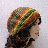 Multicolor Stripe Slouchy Crochet Hat - Womens Slouch Beanie - Oversized Cap Fall Colors - Fall Winter Fashion Accessories