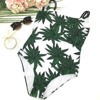 Leaves Pattern Swimwear Bikini Set