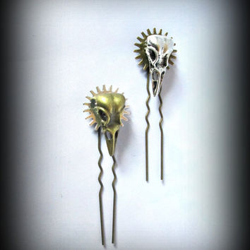 Steampunk hair pin-bird skull hear clip-hair fork-gothic hair fork-gothic hair pin-gear charm hair pin-watch parts hair pin-set of 3