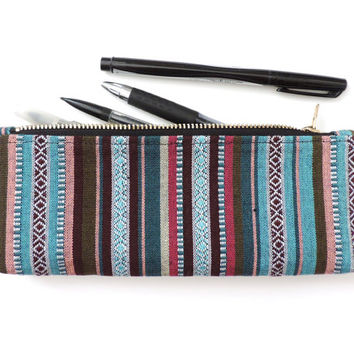 Stripe Pencil Case Pouch Short Pencil Case
