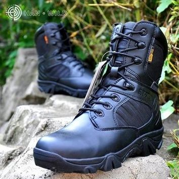 Side Zipper Brand Men Army Boots Men Military Tactical Boots Outdoor Hiking Desert Genuine Leather Ankle Boots Male Combat Botas