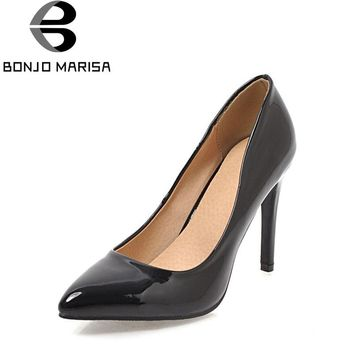 BONJOMARISA Women's High Heel Pointed Toe Patent Leatherret Pumps Less Platform Office Shoes Woman Stilettos Big Size 34-43