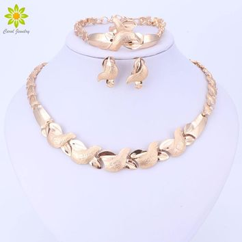 Jewelry Sets Women Costume Statement Necklace Bracelet Earring Ring Fashion Gold Color Romantic Classic Wedding Accessories