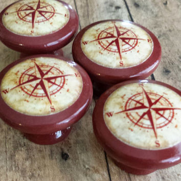 Handmade Nautical Birch Wood Knob Drawer Pulls, Antique Style Red Compass Cabinet Pull Handles, Sea Dresser Knobs, Made To Order