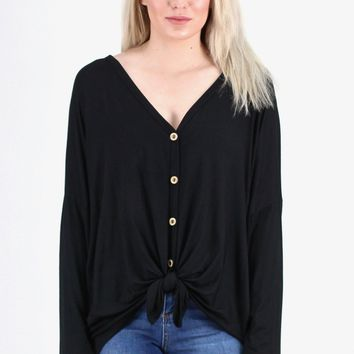 Solid Button Down + Knot Front Long Sleeve {Black}