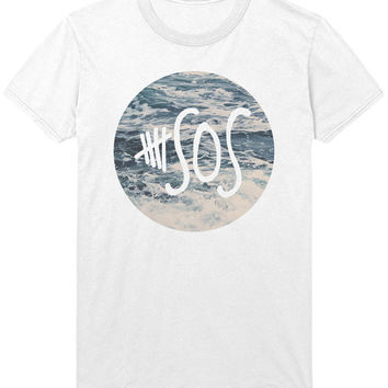 5 SOS Ocean Print T-Shirt - Ashton Irwin - Hipster Indie Pop Punk Music Tank Top Shirt Sweatshirt - Mens / Womens