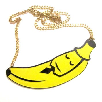 acrylic banana man necklace, banana, food charms, geeks, grunge