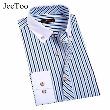 DD JeeToo Long Sleeve Cotton Button Down Men's Shirts