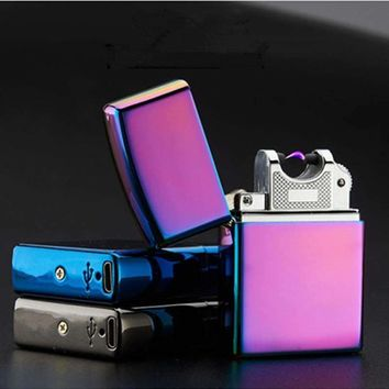 USB Lighter Electronic Cigarette Lighter Pulsed Arc Lighter Windproof Thunder Metal Cigarette Plasma Flameless Cigar Lighter
