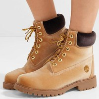 DCCK Virgil Abloh OFF-WHITE x Timberland Velvet Hiking Boots Brown