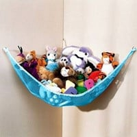 Dozenegg Stuffed Animal & Toy Organizer Hammock Pet Net, Blue Net and Trim