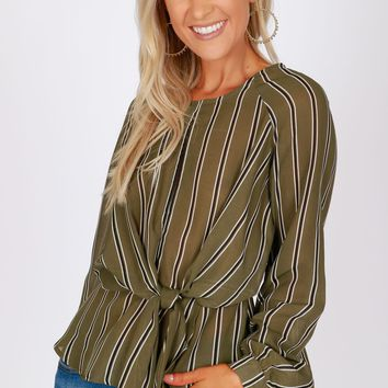 Striped Knot Top Olive/Black