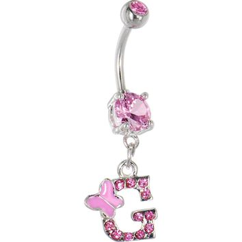 "Pink Gem Butterfly Initial Dangle Belly Ring - Letter ""G"""