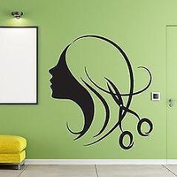 Decor for Beauty Salon Wall Sticker Vinyl Decal Beautiful Sexy Girl Hair Unique Gift (n292)