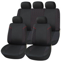 Adeco 9-Piece Car Vehicle Protective Seat Covers, Universal Fit, Black/Red