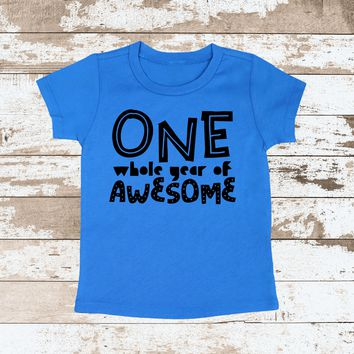 One Year of Awesome Blue Shirt