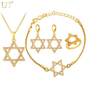 Jewish Jewelry Magen Star Of David Necklace Bracelet Ring And Earrings Set