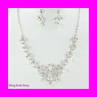 Stunning Vine Bridal Wedding White Pearl Necklace Earring Set Silver Tone Bling