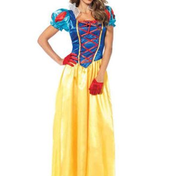2PC.Classic Snow White,long dress with matching bow headband in MULTICOLOR
