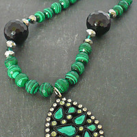 Faceted Malachite and Black Onyx Necklace