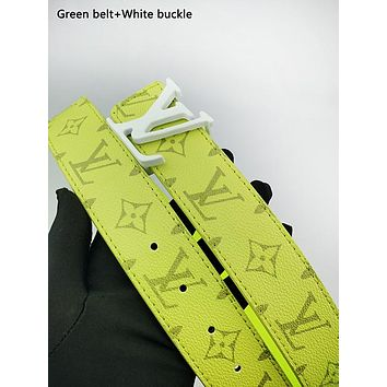 LV fashionable casual belt for men and women hot seller of printed patchwork color belt Green belt+White buckle