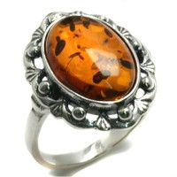 Amber and Sterling Silver Classic Ring
