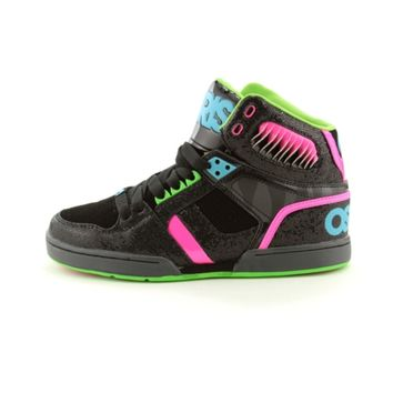 Womens Osiris NYC 83 Slim Skate Shoe, Black Lime Pink, at Journeys Shoes