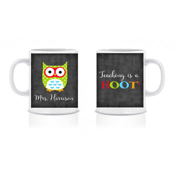 ON SALE Owl Teacher Coffee Mug Teacher Coffee Cup Back to School Custom Personalized - Classroom Decor/Gift 11 oz or 15 oz Coffee Mug