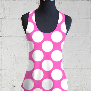 Hot Pink White Polka Dots