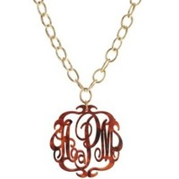 Acrylic Script Monogram Greenwich Necklace from Moon & Lola