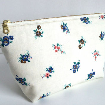 Large Cosmetic Bag, Large Makeup Bag, Large Zipper Pouch, Vintage Makeup Bag, Bridal Makeup Bag,Brides Bag, Bridesmaid Gift