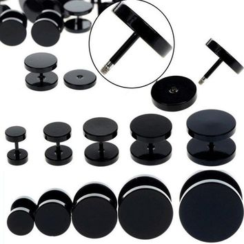 1 Piece 6-14mm Stainless Steel 18G Black Fake Ear Plug Stud Stretcher Tunnel Earring For Women Men Body Piercing Jewelry