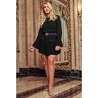 Believe In You Long Sleeve Crochet Detail Dress (Black)