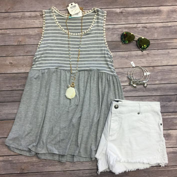 Ivy Striped Baby Doll Top: Grey