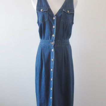 Vintage Long Denim Dress Sleeveless Denim Maxi Dress Womens 14 Petite Button Up Front Coverup