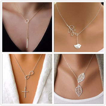 Gold Silver Tones Infinity Necklaces