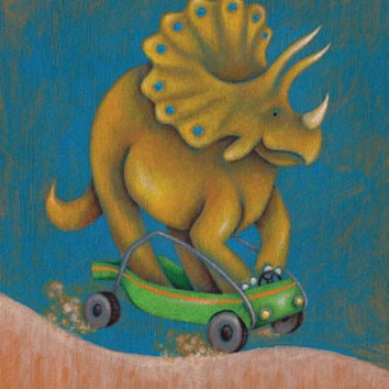 Dinosaur Dash Triceratops | Canvas Wall Art