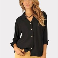 Hollar Back Blouse - Black