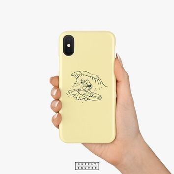 Light Yellow Vintage Surfer iPhone X Case Samsung Galaxy Case S8 Case S7 Plus Case iPhone 8 iPhone 7 Plus iPhone 6s iPhone 6s Plus Retro Art