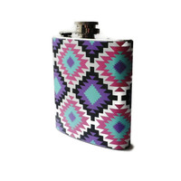 Stainless Steel Hip Flask with geometric aztec wrap - 6oz 4oz 2oz 1oz - different designs available